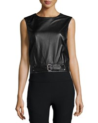 Nicole Miller Crewneck Sleeveless Belted Leather Crop Top Women's