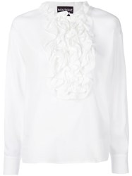 Boutique Moschino Ruffled Front Bib Shirt White