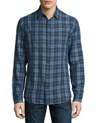 Faherty Seasons Plaid Work Shirt Indigo