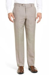 Men's Big And Tall Linea Naturale 'Tic Weave' Super 100S Wool Trousers Sand Beige