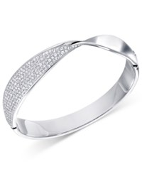 Swarovski Pave Twist Hinged Bangle Bracelet Silver