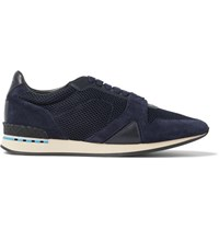 Burberry Panelled Suede Leather And Mesh Sneakers Navy
