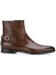 Santoni Buckle Ankle Boots Brown