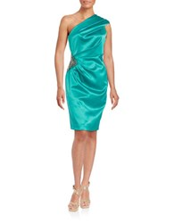 Eliza J One Shoulder Ruched Cocktail Sheath Dress Emerald