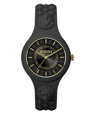 Versus By Versace Fire Island Goldtone Black Silicone Strap Watch
