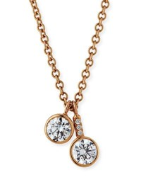 Rahaminov Diamonds Forevermark 18K Rose Gold Double Diamond Pendant Necklace