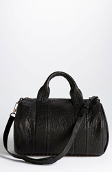 Alexander Wang 'Rocco Rosegold' Leather Satchel Black