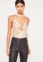 Missguided Nude Satin Choker Neck Cowl Bodysuit