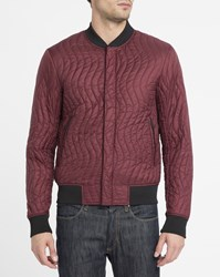 Armani Jeans Burgundy Ribbed Quilted Bomber Jacket