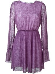 Msgm Pleated Dress Pink And Purple