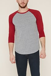 Forever 21 Cotton Blend Baseball Tee Heather Grey Red
