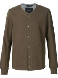 Wings Horns Buttoned Bomber Jacket Green