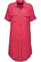 Equipment Slim Signature Washed Silk Shirt Dress Bright Pink