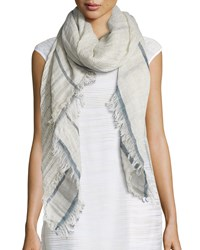 Linen Grid Pattern Scarf Grey Navy Peserico