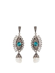 Alexander Mcqueen Crystal And Pearl Embellished Eye Earrings Blue Multi