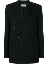 Saint Laurent Classic Wool Double Breasted Blazer Black