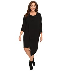 Christin Michaels Plus Size Nancee Cowl Neck Dress With Asymmetrical Hem Black Women's Dress
