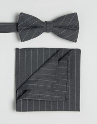Selected Homme Tie And Pocket Square Grey