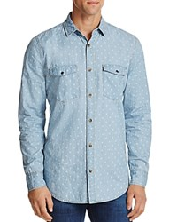 Sovereign Code Rolando Patterned Chambray Regular Fit Button Down Shirt Light Indi