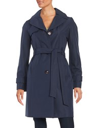 Ellen Tracy Water Resistant Hooded Trench Navy Blue
