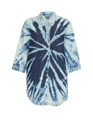 Raquel Allegra Tie Dye Cotton And Linen Blend Shirt Blue Multi