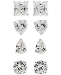 Giani Bernini 4 Pc. Set Cubic Zirconia Multi Shaped Stud Earrings In Sterling Silver Only At Macy's