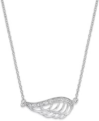 Macy's Diamond Angel Wing Pendant Necklace 1 10 Ct. T.W. In Sterling Silver