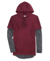 American Rag Men's Colorblocked Long Sleeve Hooded T Shirt Only At Macy's Dark Scarlet