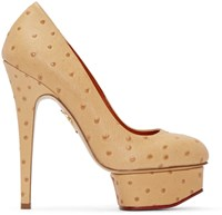 Charlotte Olympia Tan Ostrich Embossed Dolly Heels