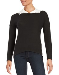 Red Haute Collared Knit Sweater
