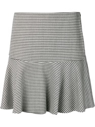 Boutique Moschino Houndstooth Flared Skirt White