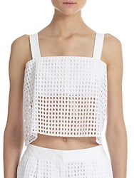 3.1 Phillip Lim Bandeau Insert Sheer Cotton Eyelet Cropped Top White