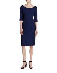 Lafayette 148 New York Alexia Sheath Dress With Lace Detailing Galaxy Blue