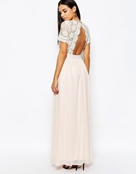 Club L Maxi Dress With Scallop Crochet And Open Back Nude Pink A Simage