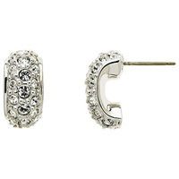 Cachet London Rhodium Plated Swarovski Crystal Pave Earrings Silver