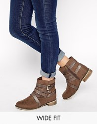 New Look Wide Fit Bobby Multi Strap Ankle Boots Brown