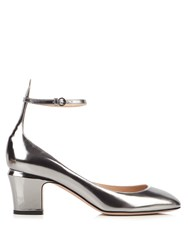 Valentino Tan Go Block Heel Leather Pumps Silver