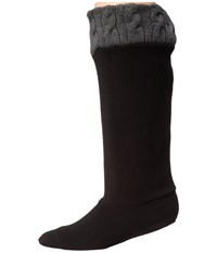 Chooka Cable Knit Cuff Fleece Liner Charcoal Women's Quarter Length Socks Shoes Gray