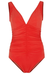 Karla Colletto Red Ruched Swimsuit