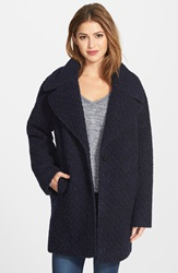 Calvin Klein Wool Blend Boucle Boyfriend Coat Blue Black