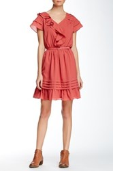 Doe And Rae Ruffle Belted Dress Red
