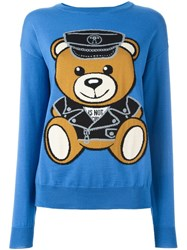 Moschino Biker Teddy Bear Jumper Blue