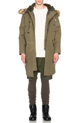 Nlst Nylon Parka With Faux Fur Trim In Green