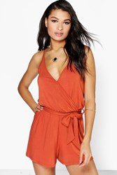 Boohoo Cami Style Wrap Belt Jersey Playsuit Spice