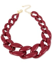 Inc International Concepts Iris X Gold Tone Large Link Collar Necklace Only At Macy's Burgundy