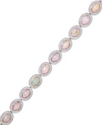 Macy's 14K Rose Gold Over Sterling Silver Opal 8 1 2 Ct. T.W. And Diamond Accent Bracelet
