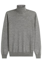 Jil Sander Wool Turtleneck Pullover With Silk Grey