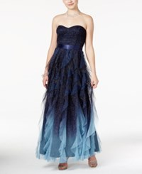 Teeze Me Juniors' Glitter Ombre Ruffled Strapless Gown