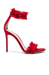 Gianvito Rossi Suede And Satin Heels In Red