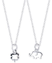 Unwritten Elephant And Clover Pendant Necklace Set In Sterling Silver